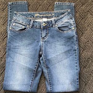 Used - Blue Asphalt Skinny Jeans -Blue